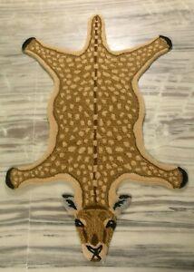Hand Tufted Deer Skin Wool Carpet Home Decor Guest Room Rug Mat Gift 2x3 Feet