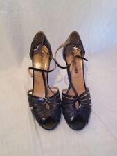 Russell & bromley ladies black peep toe sandals uk 40 ref ju01