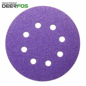 """125mm Sanding Discs 5"""" Sandpaper CERAMIC Hook and Loop Pads for Hard Materials"""