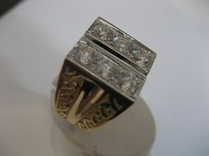 NEW GENTS 18KT 2TONE WHITE SAPPHIRE RING