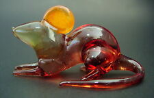 Glass MOUSE / RAT, Glass Ornament, Tinted Brown Painted Animal Glassware Gift