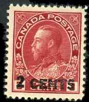 Canada #139 mint VF OG NH 1926 King George V 2c/3c carmine Admiral Provisional