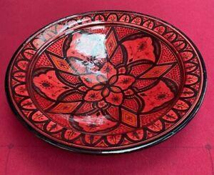 Moroccan Plates Hand Painted 42 x11H cm Burgundy/Black Original