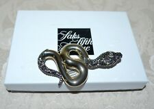 Alexis Bittar Elements Snake Pin Brooch Crystals Gunmetal 18k GP