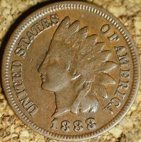 1888 Indian Head Cent - FINE, READABLE LIBERTY AS SHOWN (K981)
