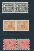 """BERLIN 1949, """"Bauten I"""", drei postfrische PLF im Paar mit Normalmarke!! Mi. 320,"""