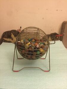 Bingo Cage Tumbler with Marble Ball Catcher Wood Balls and Vintage