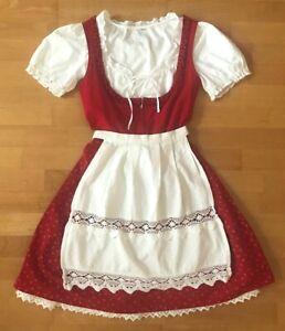 DIRNDL Set 34 Bartholomäus Rot Weiß mit Schürze, Bluse und Unterrock aus München