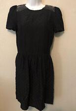 SESSUN Silk A-Line Dress Size S Textured Belted Short Sleeve Crew Neck Polka Dot