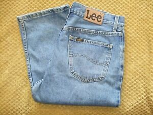 """Lee Brooklyn Zip Fly Blue Jeans Size W34"""" L32"""" Nice Used Condition"""