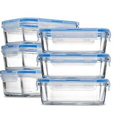 Glass Meal Prep Food Storage Containers - (6-Pack 28 Oz.) Portion Control Lunch