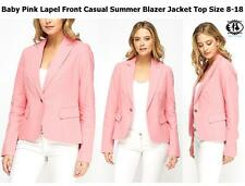 LADIES PASTEL COLOUR SUMMER BLAZER TOP PLUS SIZE8-18 PINK BLUE SUIT JACKET SHIRT