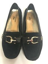 Anne Klein  AKGreater Black Suede Leather Loafers Moccasins Flats Women's 7M