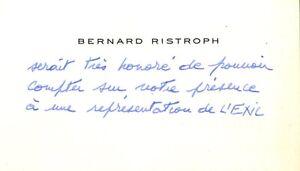 🌓 CAS Bernard RISTROPH invite Louise CONTE à L'Exil Henry de MONTHERLANT 1974