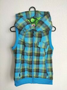 Women's BURTON Starr PLAID Winter VEST Snowboard HOOD Neon Blue GREEN Zip MEDIUM