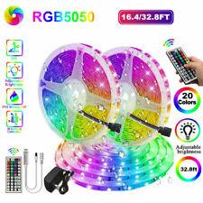Waterproof 32.8 FT RGB 5050 Led Strip Lights SMD 44 Key Remote 12V DC Power Kit
