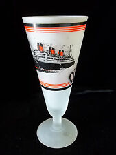 Queen Mary Cruise Ship Frosted Glass Beer Soda Goblet Black and White Detail