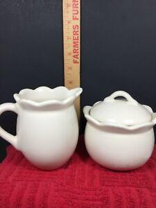 Vintage Stoneware Sugar Creamer Set Bone Ceramic TC Made in China