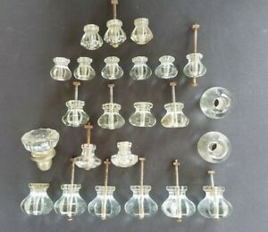 Lot of 24 Mixed Size Vintage Antique Clear Glass Drawer Door Knob Pulls Handles