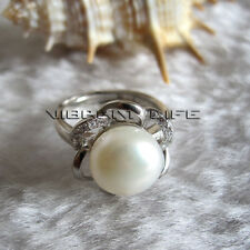 9.5-10.0mm White Freshwater Pearl Ring R16H US Size 6# Adjustable Size UE