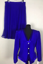 Rimini Saks Fifth Avenue VTG  NWT 16/18 XL 100% Silk Jacket Skirt Suit Purple