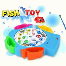 Magnetic Fishing Toy Set Kids Electric Rotating Fishing Game With Music & Light