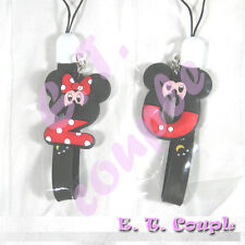 2PC Mickey Minnie number zero adorable couple cellphone strap Disney keychain
