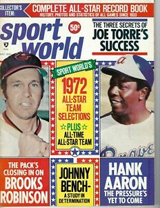 1972 Sport World Baseball magazine Hank Aaron, Braves Brooks Robinson Orioles Gd