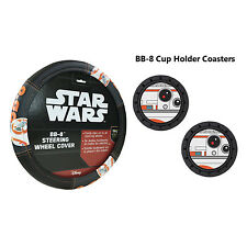 Disney Star Wars BB-8 Steering Wheel Cover & Cup Holder Coasters- 3PC Combo