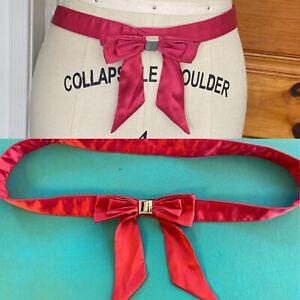 """KAREN MILLEN pink silk Bow BELT 28.5"""" - 30"""" S M silver hardware satin"""
