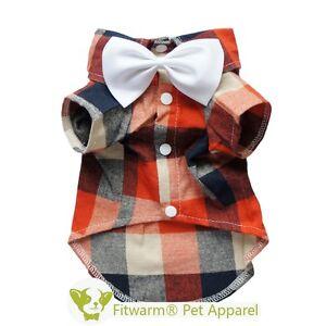 Fitwarm Plaid Shirts Party Dog Clothes Polo Pet Apparel Wedding Bowneck S M L