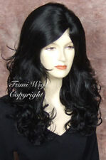 Long Side Parting Curly Wig in Black / 100% Japanese Fibre Brilliant Quality
