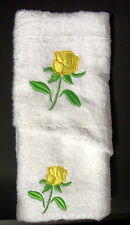 YELLOW ROSE HAND TOWEL & FACE WASHER SET -  NEW