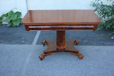 19th C. Empire Crotch Mahogany Game, Breakfast Table on Casters