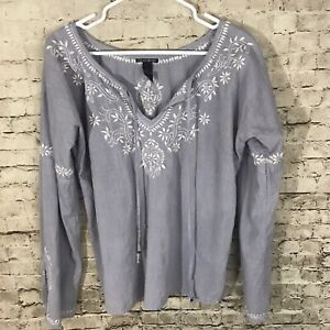 LUCKY BRAND Women's Size Medium Blue White Long Sleeve Shirt
