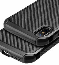 for iPhone X - Black Carbon Fiber Hybrid Rugged Hard Armor Shockproof Case Cover