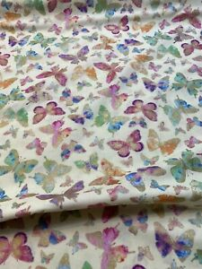 Watercolor Wishes -Butterfly Wishes Yellow Cotton Kanvas Studio Metallic BTY