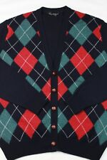 Hawick Scotland Navy Blue Red Green Argyle Knit Wool Leather Button Cardigan L