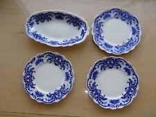 4 Pcs Grindley Portman Flow Blue with Gold 3 B&B & 1 Oval Serving Bowl
