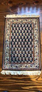 """Vintage Mini Navy wool rug 16"""" x24"""""""
