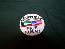 """""""Free Kuwait, Support Desert Storm"""" cello pin-back button, 1991."""