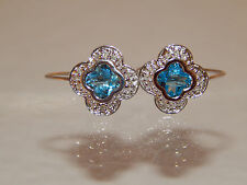14k WG Halo Dangle Drop Fancy Diamond Blue Topaz Earrings 1.10 tcw G/SI2