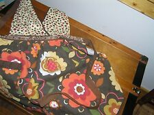 Simply Envogue Retro 100% Cotton Brown Orange Polka Dot Bikini Top Floral Full