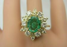 14k Yellow Gold 1.58 carat Emerald and Diamond Ring 2.36 ct TW Cluster