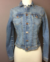 H&M Denim Blue Jean Jacket Button Down 2 Pockets Size 6