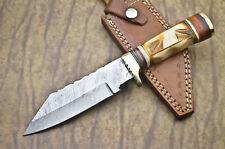 ENGRAVED BONE HANDLE HUNTING KNIFE - DAMASCUS STEEL - BONE - AA - 4114