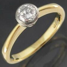Quality Solid 18k Yellow & White GOLD DIAMOND SOLITAIRE RING Val=$3005 Sz L