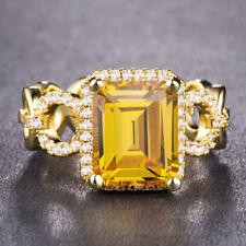 Women 18k Yellow Gold Plated Emerald Cut Citrine,Amethyst Wedding Ring Size 6-10