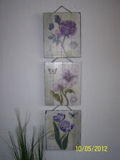 Bildunterschrift > Bilderserie > Bilderset 3 tlg. > Holzbilder > Blumenbilder >