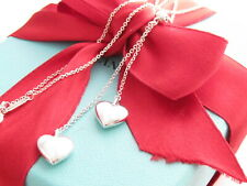 """Tiffany & Co Silver Double Puff Heart Dangle Drop Charm Necklace 16"""""""